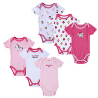 Mother Nest 6pcs Lot Summer 100 Cotton Baby Body Sets Newborn Pullover Short Sleeve One Pieces