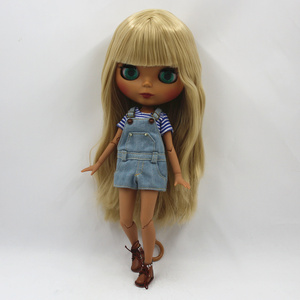 Image 4 - Special Price Blyth Joint body Nude Doll straight blond hair with/without bangs new matte shell dark Skin 30cm Suitable For DIY