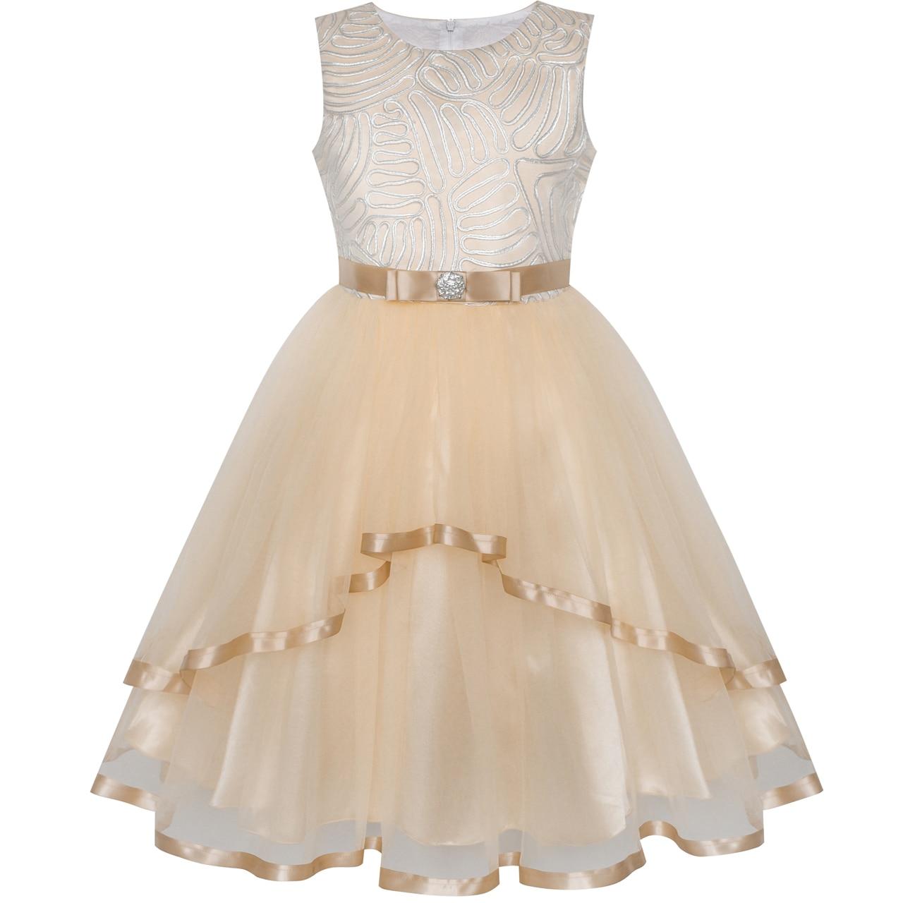 Flower Girl Dress Ivory Wedding Party Dress 2018 Summer Princess Dresses Children Clothes Size 4-12 Pageant Sundress