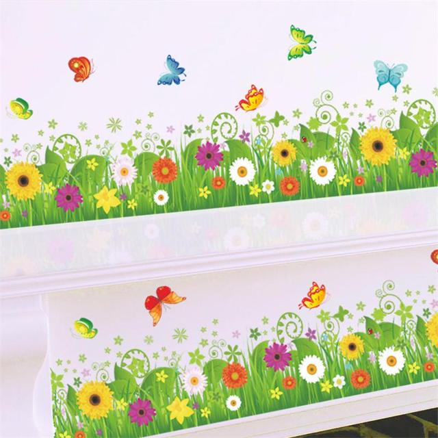 Cartoon Flower Beautiful Clover Butterfly Border Decal Kids Room Decor Baby Home 038