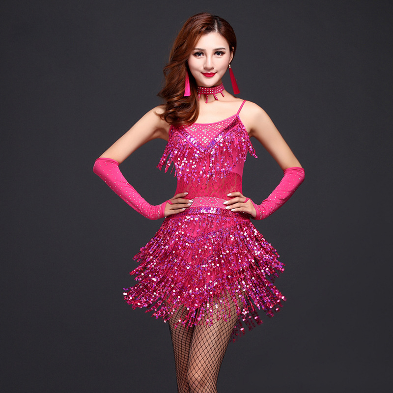 New Fashion Women Dance Competition Ballroom Samba Costume 3pcs Set With Necklace Sleeves Sequins Latin Dress For Girls