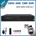 Vigilância de vídeo 32ch AHD 720 P tempo real de gravação de segurança CCTV DVR gravador de 1080 P DVR NVR de 32 canais AHD-M