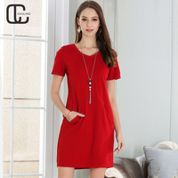 2018 Summer Women S Red Black Elegant Dresses Female Pockets Casual Plus Size Simple Dress Plus