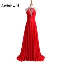 Real Photos Red Prom Dresses Long 2018 Sleeveless Beaded Chiffon Floor Length Elegant Evening Dress Special