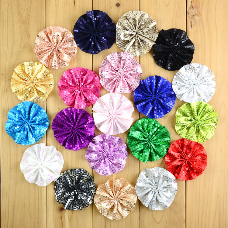 Hot New 20C 100pcs/lot Embroidery Sequin Bow Kids Head Flower Flat Back 3.15 Inch For Girl Headbow DIY Accessories MH94