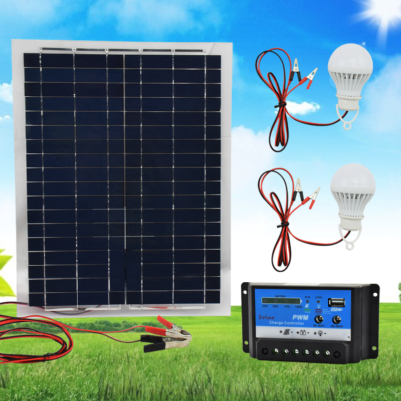 20W 12V Polysilicon Silicon Solar Panel+ PWM 10A Charge Controller Battery Charger Kit +2 LED Light For RV Car Boat Tourism 2pcs 4pcs mono 20v 100w flexible solar panel modules for fishing boat car rv 12v battery solar charger 36 solar cells 100w