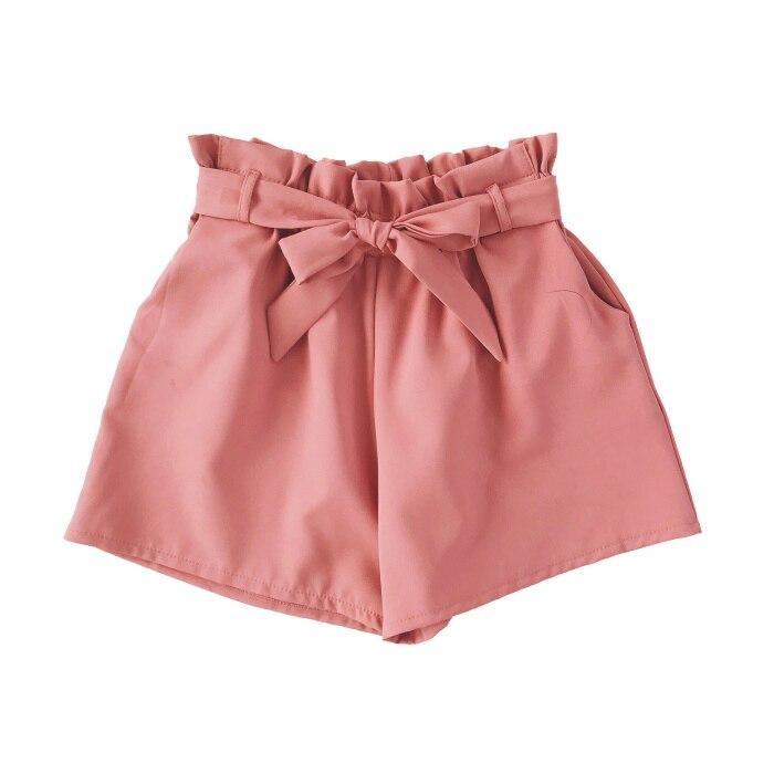 2018 Women High Waist   Shorts   Women Sexy Smocked Belted Beach Summer   Shorts   Loose Elastic Waist Streetwear Wide Leg   Shorts   0414