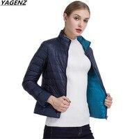 Autumn Female Jacket Reversible Two Side Wear Light Thin Women Jacket Winter Short Coat Casual Tops White Duck Coats YAGENZ K352