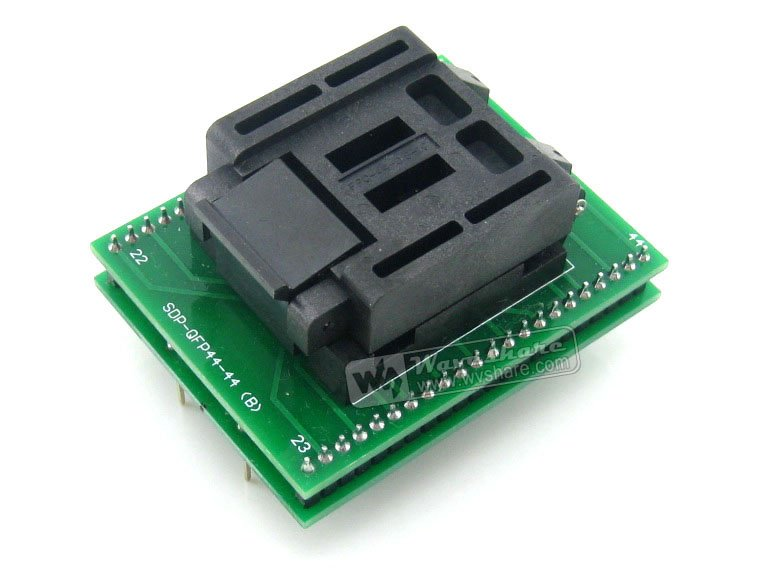 Waveshare QFP44 TO DIP44 (B) Enplas IC Programmer Adapter Test Socket 0.8mm Pitch for QFP44 TQFP44 FQFP44 PQFP44 Package waveshare ssop28 to dip28 b tssop28 enplas ic test socket programming adapter 0 65mm pitch