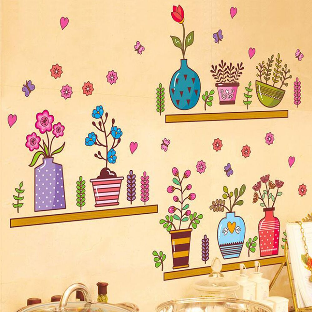 Cute Cartoon Flower Butterfly wall Stickers DIY Decal Window glass ...