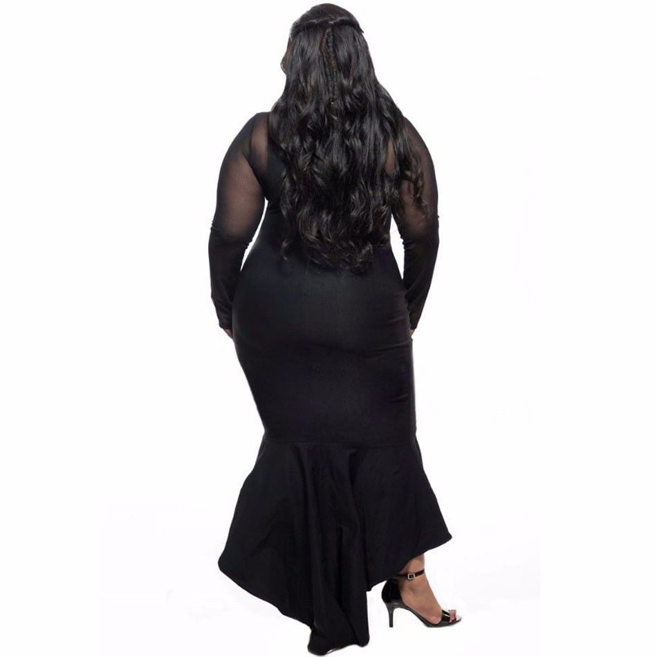 Black-Sheer-Mesh-Splice-Curvy-Mermaid-Dress-LC61086-2-3