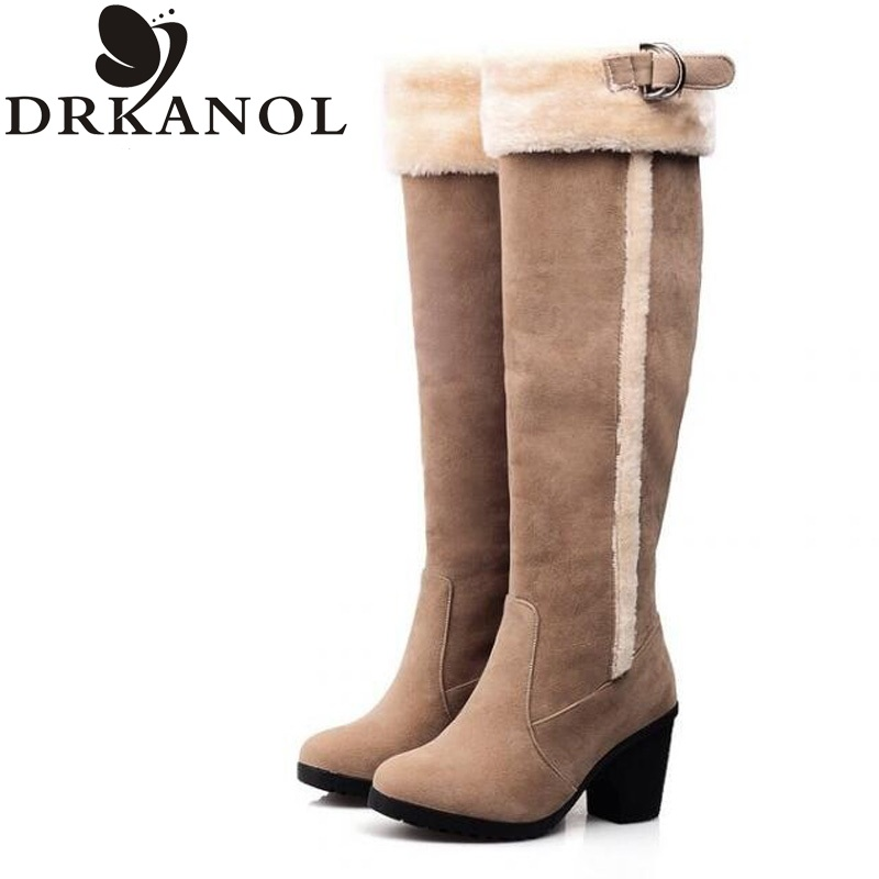 ФОТО Fashion women winter snow boots mujer botas high heel knee high boots high quality thick heel fur knight boots large size 35-43