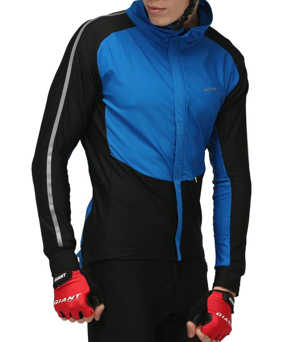 Outto Men s Windproof Thermal Winter Cycling Jackets Reflective Long Sleeve Fleece Bike Shirt