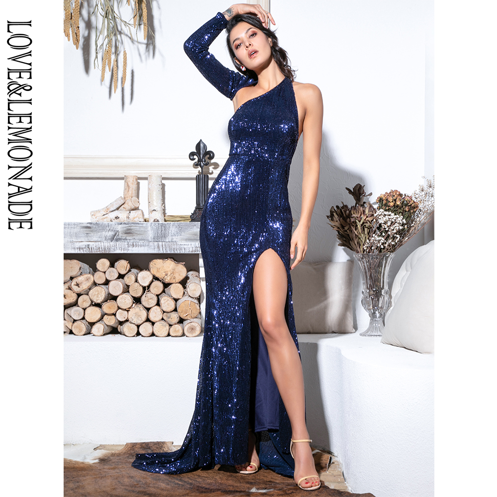 LOVE&LEMONADE Sexy  Open Back Single Sleeve Slim Fit Elastic Sequined Fabric Bodycon Going Out Long Dress LM81333-2 NAVY