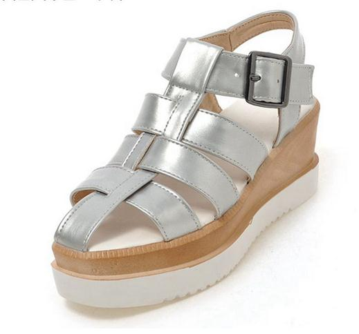 Buckle strap Women Med heels Platform sandals Female wedges  Summer Casual Cutouts Metal White Silver Shoes women size 34--39 phyanic 2017 gladiator sandals gold silver shoes woman summer platform wedges glitters creepers casual women shoes phy3323