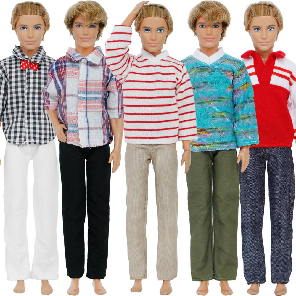 Casual Gray High Collar Sweater Jeans Clothes Set For Ken Dolls Low Price