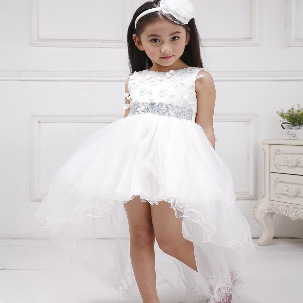 Azel 4-12T Children Party Wear Short Front Long Back Formal Dress White Princess Wedding Flower Girl Vestidos Girls Clothes girls short in front long in back purple flower girl dress summer 2017 girl formal dress kids party princess custume skd014283
