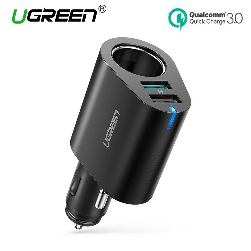 Ugreen cargador de coche 60 W Dual USB Qucik carga 3,0 cargador USB para iPhone X 8 galaxia S9 s8 LG V20 cargador del coche del USB