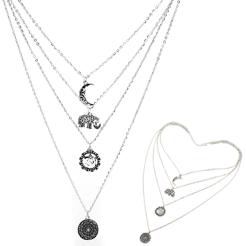 Fashion Animal Elephant Moon Jewelry Long Section Multi Layer Cross Necklace New Metal Clavicle Chain Female Holiday Gift D30 in Chain Necklaces from Jewelry Accessories