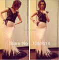 Mermaid Black Lace Top Lace Appliques Bottom Formal Long Party Dress Long Arabic Celebrity Dresses