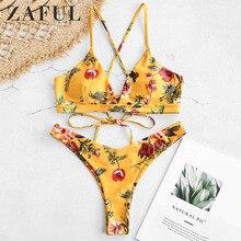 ZAFUL Flower Bikini Set Retro Women Push up Bra Bandeau Bikinis Padded Summer Female Biqinis Lace Swimsuit Brazilian Beachwear