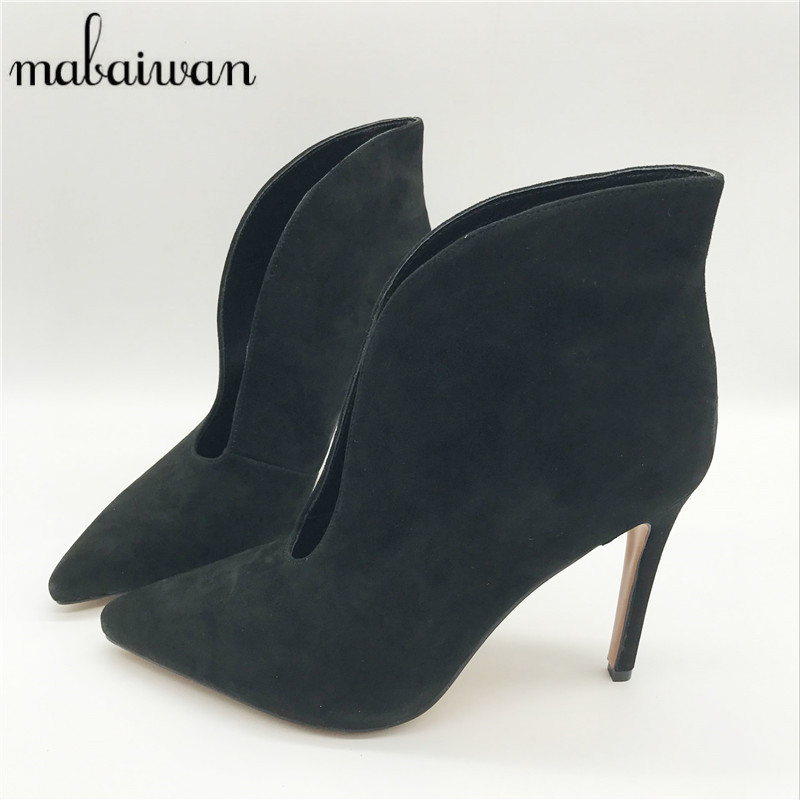 Mabaiwan Suede Women Pointed Toe Boots Deep V Front Ladies High Heels Women Pumps Slip On Dress Shoes Woman Summer Boots mabaiwan autumn ladies ankle boots genuine leather iron strange heel bota feminina front zipper botas high heels women pumps