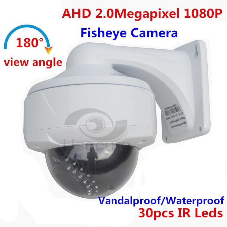 Waterproof 1080P HD AHD CCTV Night Vision Vandalproof Dome Camera With 180 Degree Lens ahd camera 1080p cctv dome camera 2 8 12mm lens cmos vandalproof security camera with osd menu star light