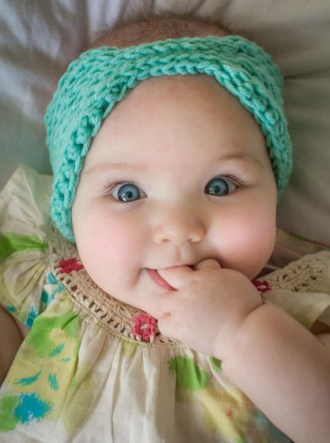 Baby Girl Knit Crochet Turban Headband