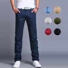 2019 Hot Fashion Men Business Casual Pants Cotton Slim Straight Trousers Spring Summer Long FC55