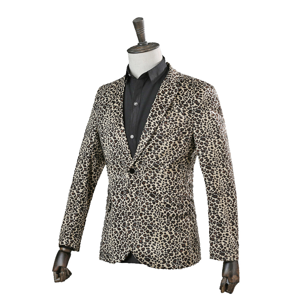 Hommes Stade Léopard Style Discothèque Mâle Manteau Vêtements Only Danseur veste Bar Chanteur Punk Pants Mode Casual Blazers Jacket jacket Costume Pantalon 85xW6qZ