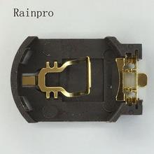 Rainpro 10 pçs/lote BS 8 CR2032 CR2025 ouro banhado a Tomada Caixa de suporte da bateria botão 2032 Bateria Caso