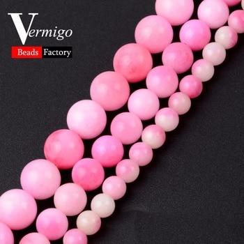 Cuentas de piedra Natural Lisa Rosa Blanco Jades Calcedonia bola redonda cuentas sueltas para fabricación de joyería DIY pulsera 6 8 10mm tamaño a elegir
