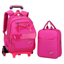 High Quality Triple-wheel Trolley Backpack For Children kids School Bags travel luggage Detachable Backpack For Girls bookbag