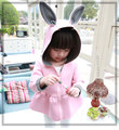 Kids 2017 new spring coat girls and children air layer cotton coat of rabbit ears