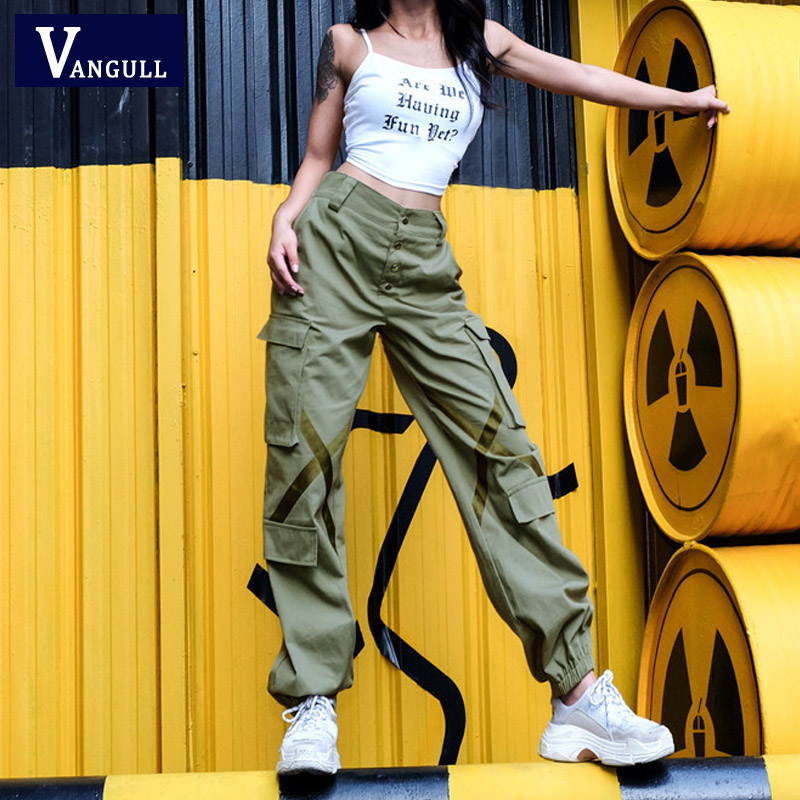 Vangull women army harem camo   pants   streetwear punk black cargo   pants   women   capris   trousers High waist   pants   New loose joggers