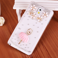 New Luxury 3D Ballet Girl Handmade Diamond Plastic Bling Transparent Back Cover Hard Case For Samsung