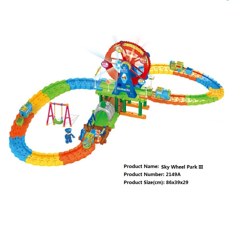 ФОТО Sky Wheel Park III DIY Track Electric Train Building Block Toy  Boy Gift Learning&Educational Toys For Chilren 2149A Withno Box