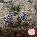 Retro 100% Real Pure 925 Sterling Silver Jewelry Red Garnet Elegant Stud Earrings for Women Lover Party Gifts Bijoux SLS30192
