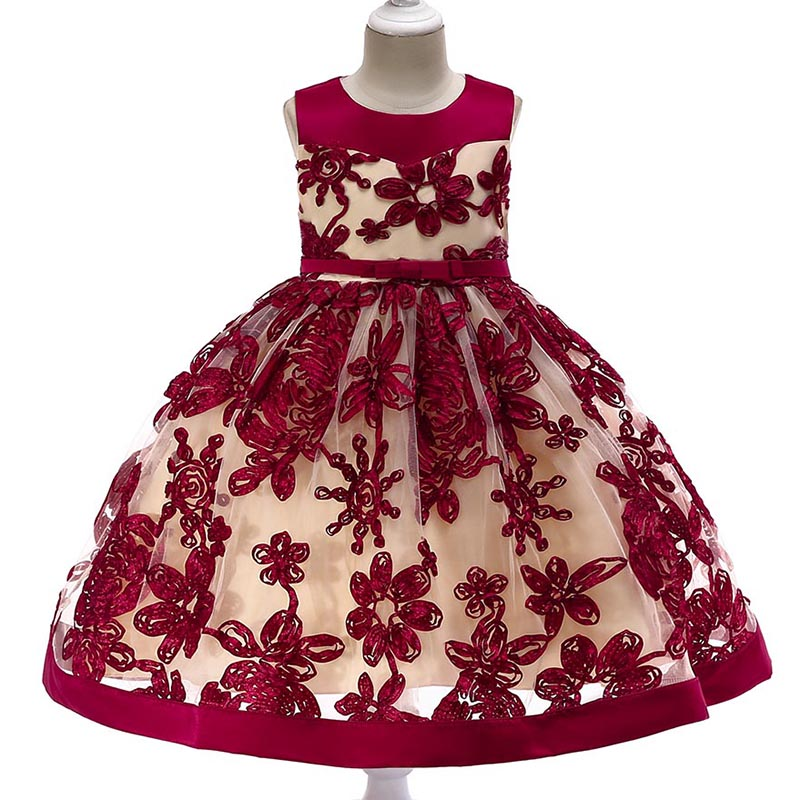 Retail High Quality Cute Heart Beading Party Gown Dress For Girls Party Elegant Girls Evening Prom Dress With Bow L5052