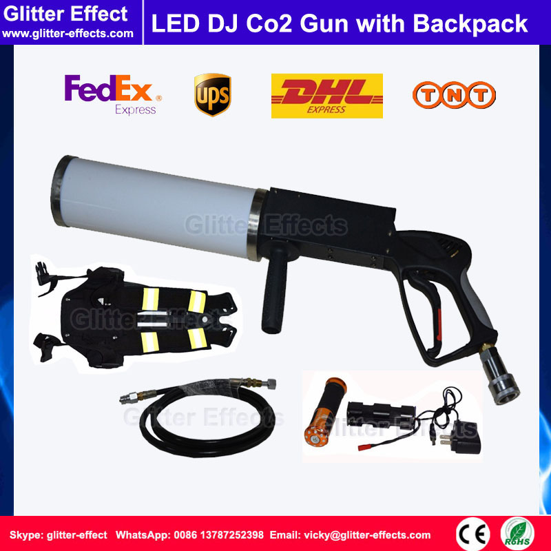 DJ disco portable hand hold LED Co2 gun Theater stage smoke fog Co2 jet machine with 3m high pressure hose and Co2 tank backpack swing co2 jet special effect stage show dj club sway column fog machine theater swing co2 machine