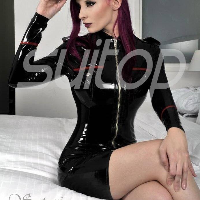 latex uniform style rubber military dress
