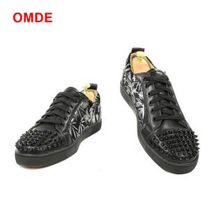 los angeles 850db 1a1ed OMDE Black Genuine Leather Mens Red Bottom Sneaker Shoes