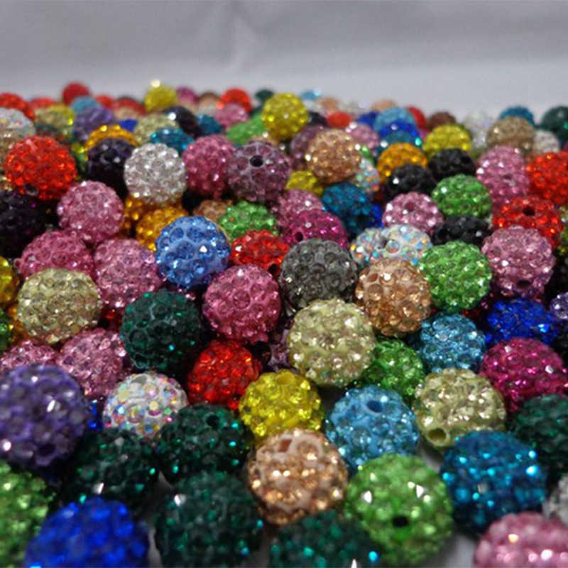 AENINE 6 rangées bricolage strass perles bijoux cubique zircone cristal perles 10mm Micro pavé CZ Disco boule perles mélanger les couleurs SHBE11