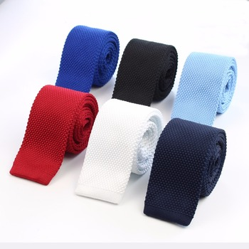 Fashion Men's Colourful Tie Knit Knitted Ties Necktie Solid Color Narrow Slim Skinny Woven Plain Cravate Narrow Neckties