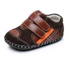 4f2235d34 Nuevos zapatos del niño del bebé muchachos de la manera zapatos de cuero  genuino marrón azul Color suave inferior para 6-24 m be.