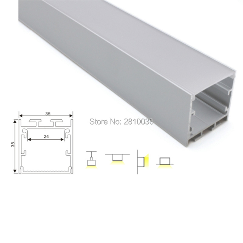 30 X 2M Sets/Lot Cover line aluminum U channel and Square type led extrusion profiles for wall recessed ceiling lamps 50 x 2m sets lot office lighting led profile housing 75 mm tall u type led aluminum extrusion for suspension lights