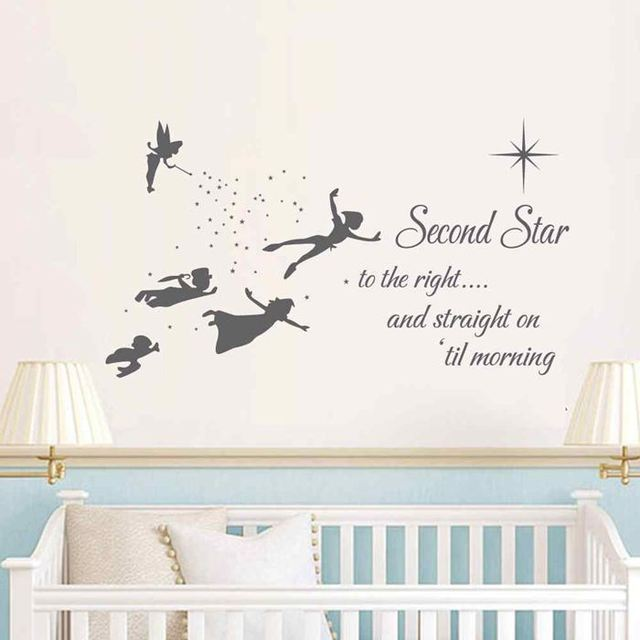 BATTOO Peter Pan Wall Decal Quote  Second Star To The Right Peter Pan   Kids