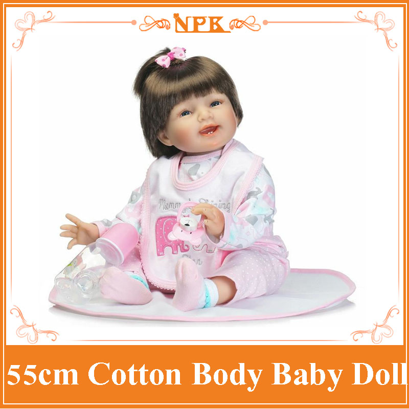 Happy Smile 55cm 22inch Bebe Reborn Silicone With Vivid  Handmade Body Bebe Bed Play Toys Bonecas Bebes Reborn Silicone For Kid navy monkey with smile