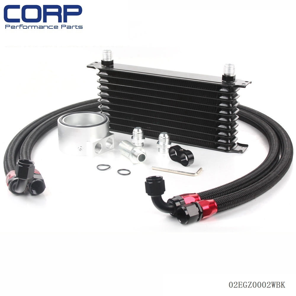 Universal 10 Row JDM Engine Oil Cooler Kit + Sandwich Plate + AN10 Oil Lines Kit