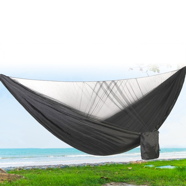 1-3 Person 290*140cm Automatic Quick-open Anti-mosquito Hammock Outdoor Champing Hiking Parachute Hammock with Mosquito Net